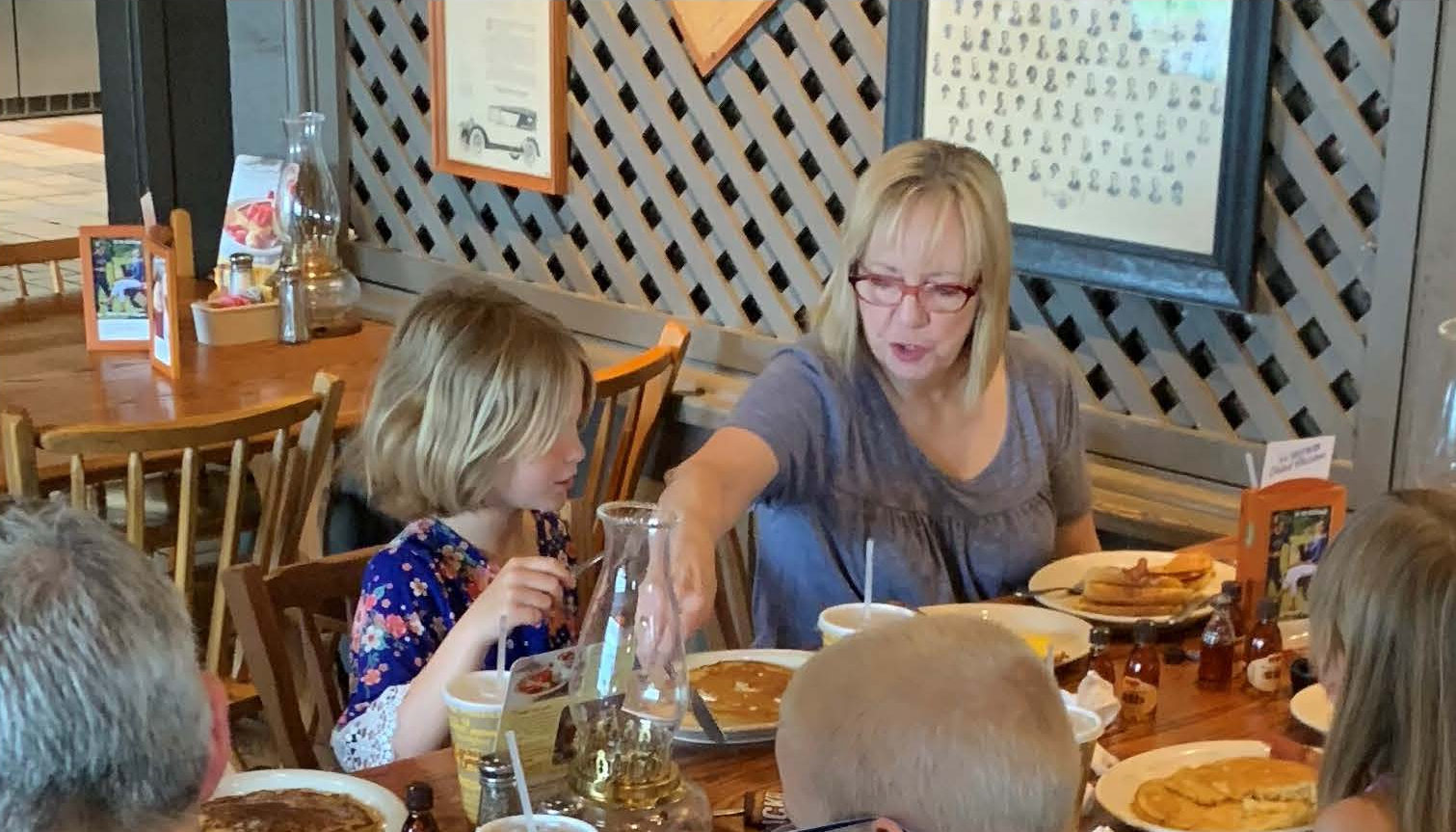 B and Debbie in May 2019 at Corbin's year-end Match Celebration at Cracker Barrel